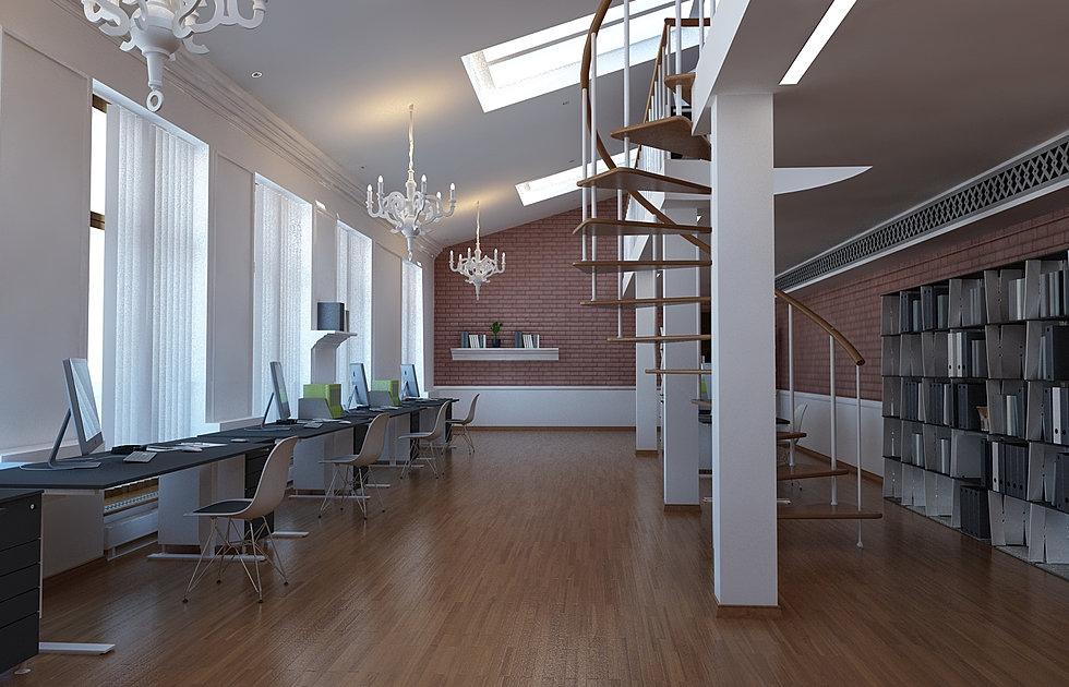 Дизайн офиса мансарды