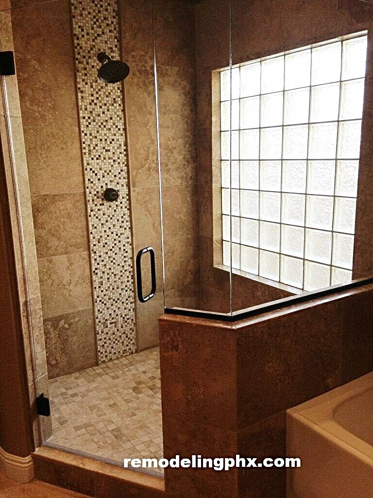 travertine shower remodel in peoria - Bathroom Remodeling Contractor