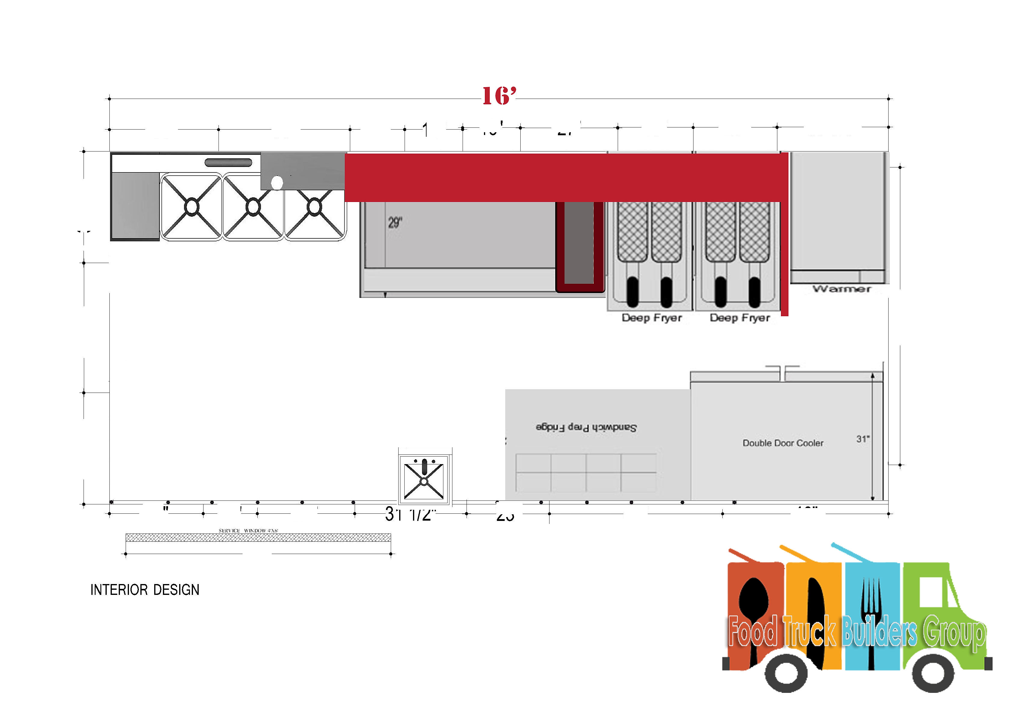 Food truck burger food truck layout for Food truck layout