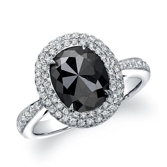Oval Black Diamond Engagement Rings Black Diamond Oval Ring