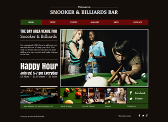 Snooker & Billiards Bar Template - Give your bar or pub an online presence with this bold and eye-catching website template. Upload photos and customize the text to advertise your events, specials, and menu. Make changes to the design and color scheme to capture the atmosphere of your establishment!