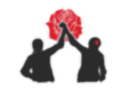 silhouette of roller girls holding hands with a rose