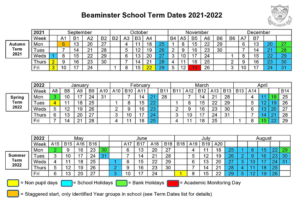 Beaminster School Term Dates Grid 2021-2