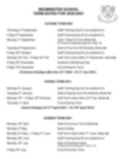 Beaminster Term Dates List 2020-21-page0