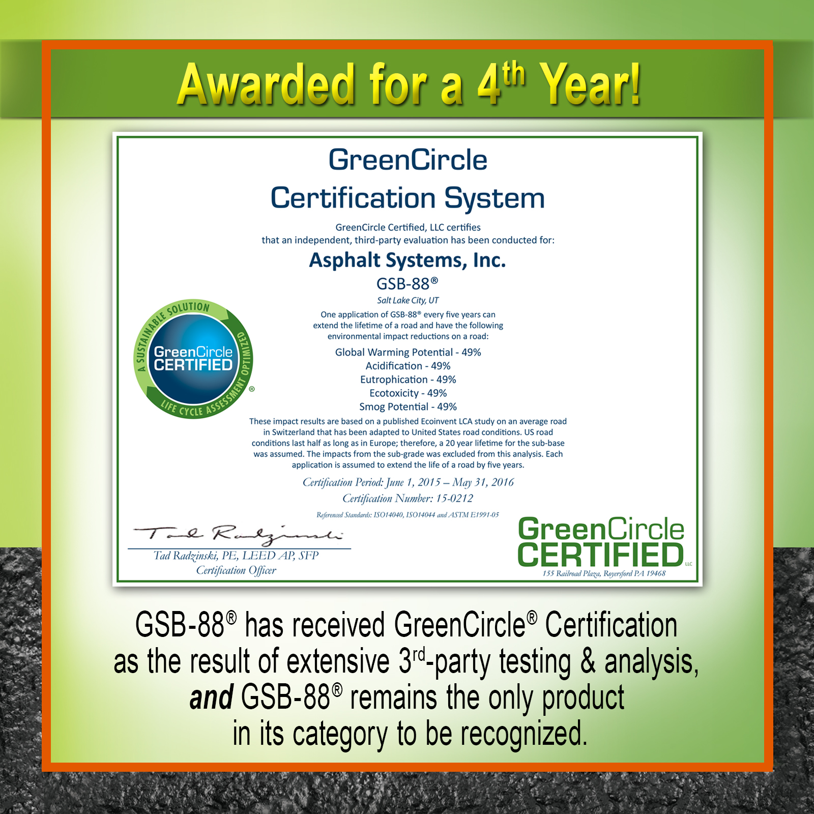 Gsb 88 received 4th greencircle certification gee asphalt gsb 88 received 4th greencircle certification gee asphalt systems inc 1betcityfo Gallery