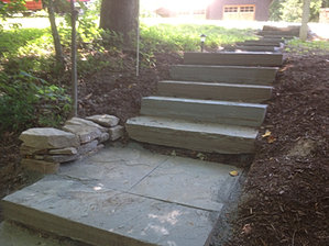Flagstone treads set into the hill