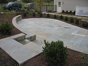Flagstone Patio with seat wall