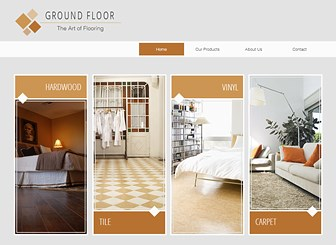 Flooring Company Template - Catering to home hardware and supply businesses, this professional theme features neutral colors, minimal layout, and clean fonts. With space for both images and text, the grid galleries are perfect for displaying sale items. Customize the column layout on the landing page to highlight your company's services or product categories.