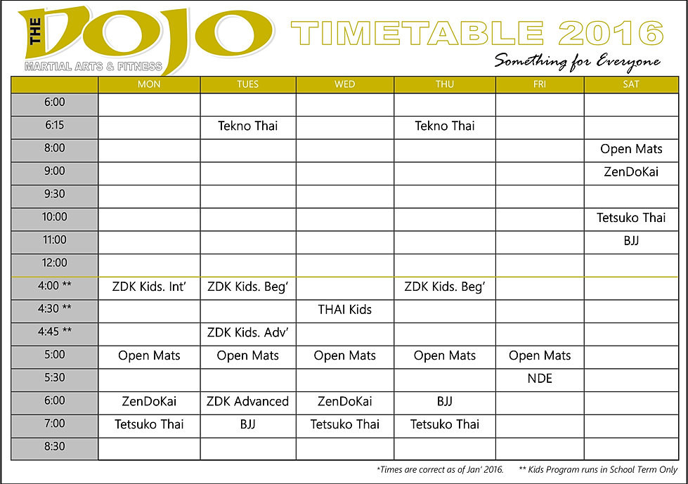 Thedojo time table for Table 85 address
