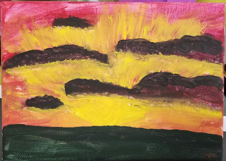 mini mindful muse natasha mercado santana art sunset peace painting