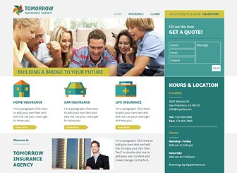 Insurance Agency Template - Professional and easy to navigate, this information-based template gives you plenty of space to display important text. Simply edit the content and adjust the color palette and design to build a polished website that represents your business.