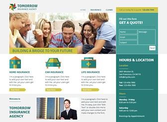 保険代理店 Template - 保険会社など情報量の多いサイトにもばっちり対応できるテンプレートです。3ページのシンプルな構成ですが、イラストや写真を表示しながら必要な情報をすべて掲載できます。