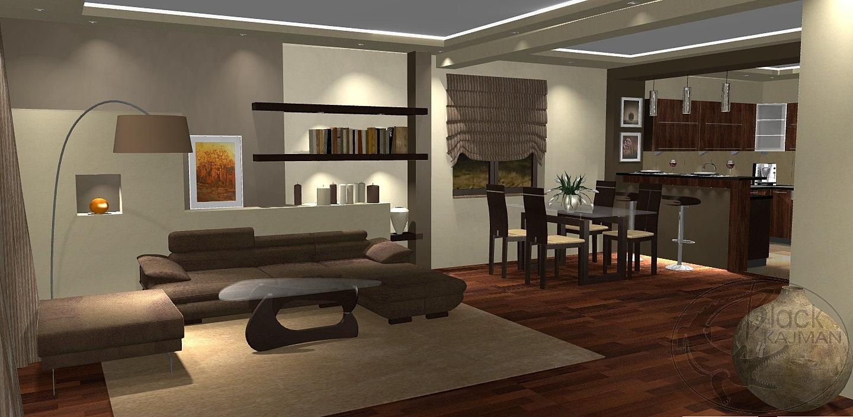 Black Kajman Projektowanie Wnętrz Bielsko  Salon z kuchnią i jadalnią