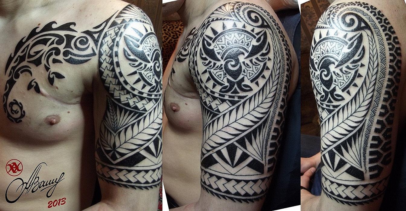 Полинезийские тату во всю руку