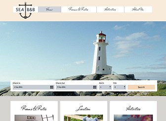Seaside B and B Template - Featuring charming fonts and neutral colors, this elegant theme is perfect for your hotel, inn, or bed and breakfast. Customize the photo gallery and add text to promote your rooms, rates, and location. Craft a professional website and watch your business grow.