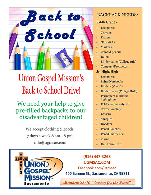 Union gospel mission sacramento ca back to school 2018 fandeluxe Images