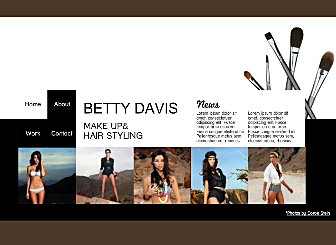 Stylist Site Template - If you love the look and feel of a beauty or fashion magazine, this is the perfect template for you. With bold accents on a simple black and white backdrop, customize, add your work and you're ready to go.