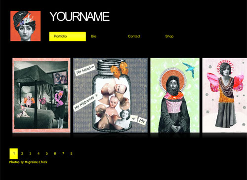 Art Shop Template - A pop art inspired design with a minimalistic feel. This template makes the perfect frame for images and works you'd like to share or promote online. Your visitors will be able to browse through a slideshow of pictures.