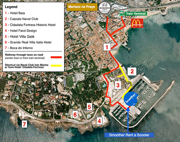 Scooter Rental Cascais Cascais Smoother Rent A Scooter - Qashqai portugal map