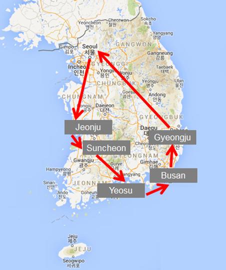 Jeonju Gyeongju Busan Package Tour Sweetravelkorea - Jeongju map