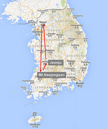 Naejangsan Mountain Jeonju Hanok Village Sweetravelkorea - Jeongju map