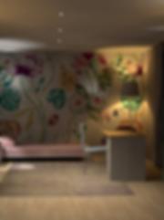 Concept 3D avec papier peint, agencement, mobilier sur mesure