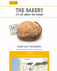 The Bakery FB Template - With this clean and bright website design you can show off your food, products or any other business in style. Adjust the colors to match your brand, add in your text and you're done.