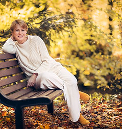 Quiet the Hive - Jane Galloway sitting on bench