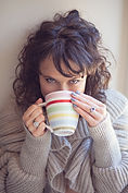 woman's photography, mug, cardigan, relaxed photograph, portrait, woman