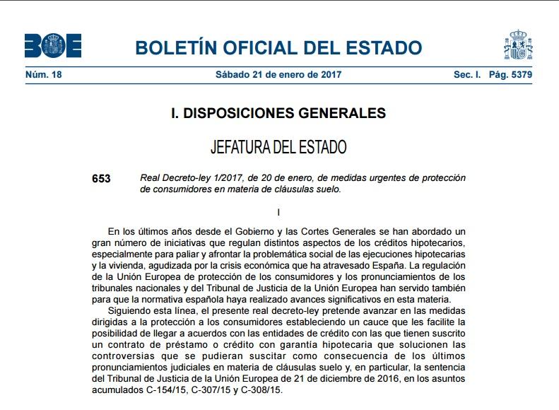 Real decreto 2017 gu a practica para reclamar la cl usula for Reclamacion clausula suelo acuerdo previo