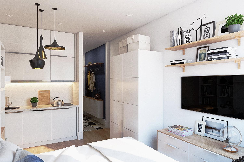 Дизайн квартиры студия 17 кв.м