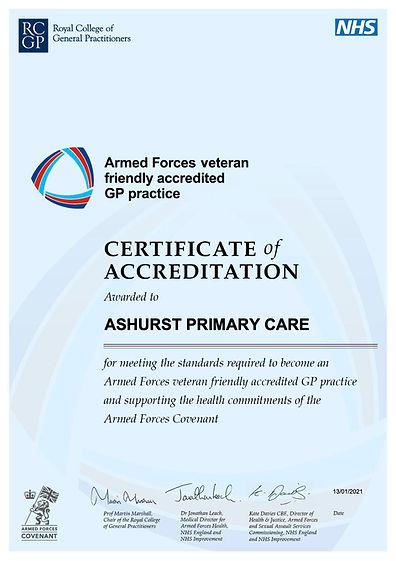 Accreditation certificate ASHURST PRIMAR