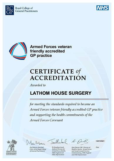 Accreditation certificate LATHOM HOUSE S
