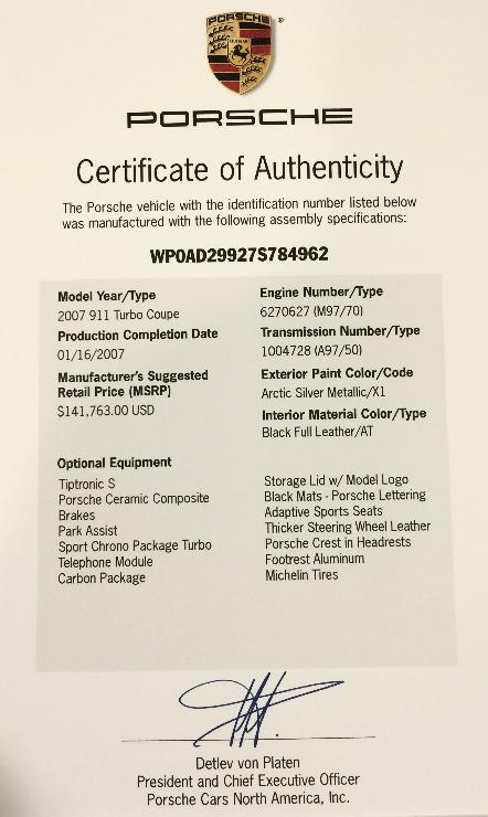 Porsche 997 Turbo For Sale Certificate Of Authenticity