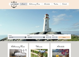 Hotel La Mar Template - Featuring charming fonts and neutral colors, this elegant theme is perfect for your hotel, inn, or bed and breakfast. Customize the photo gallery and add text to promote your rooms, rates, and location. Craft a professional website and watch your business grow.