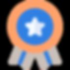 Logo médaille orange bleu et gris