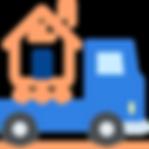 Camion de déménageur orange et bleu