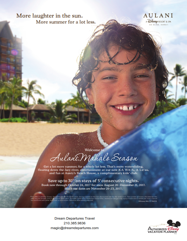 EXTEND THE SUMMER INTO FALL AT AULANI A DISNEY RESORT SPA - Aulani discounts