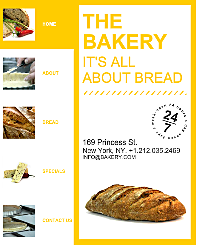 Bakery Site Timeline Template - This facebook fan page template offers a modern design concept that works perfectly with age-old recipes. Its mini page layout provides warm, golden color which will outline and envelop your content. A bold menu makes page viewing a breeze and food browsing a delight.