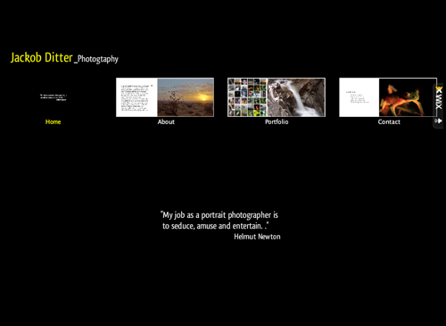 My Vista Template - This photograph inspired web design is dark yet simple. All your photographic needs will be fulfilled and displayed tastefully. Customizable thumbnail menu buttons give your visitors a preview of each web page.