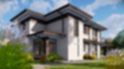 Проект двухэтажного частного загородного дома встиле прерий (Райта)