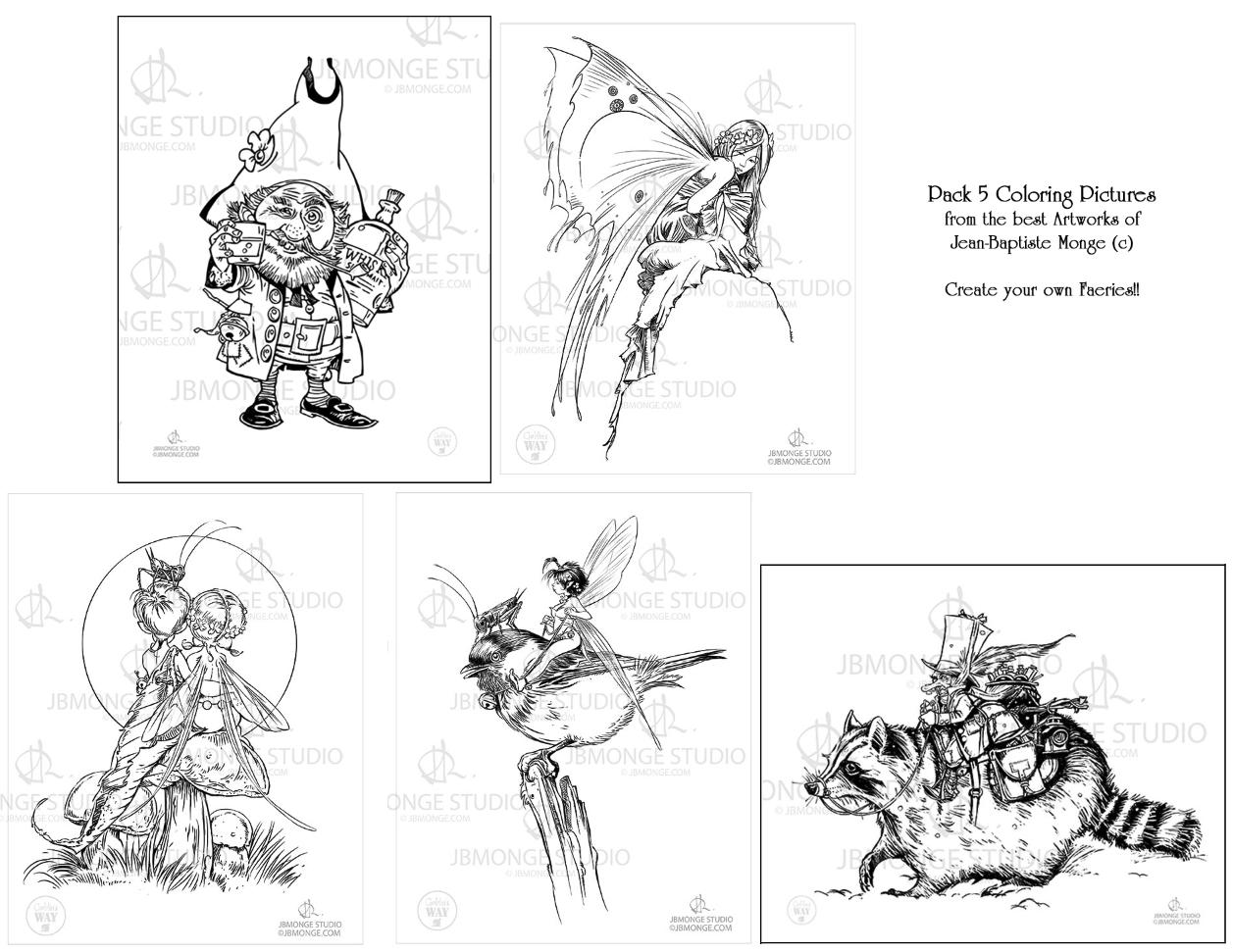 pack colouring pages jean baptiste monge jbmonge illustrator