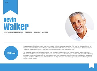 Online Business Card Template - Modern, clean, and professional, this one-page template is the perfect online platform for speakers and entrepreneurs. Describe your services, share your calendar of events, and provide links to social media profiles. Start editing to create a professional website that represents your personal brand!