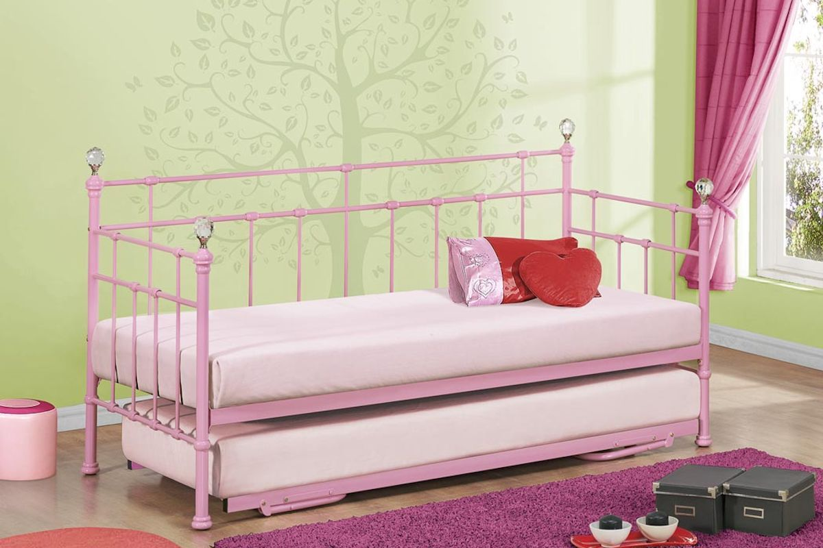 Kids daybed with trundle girls and boys pink or cream for Little girl twin bed frame