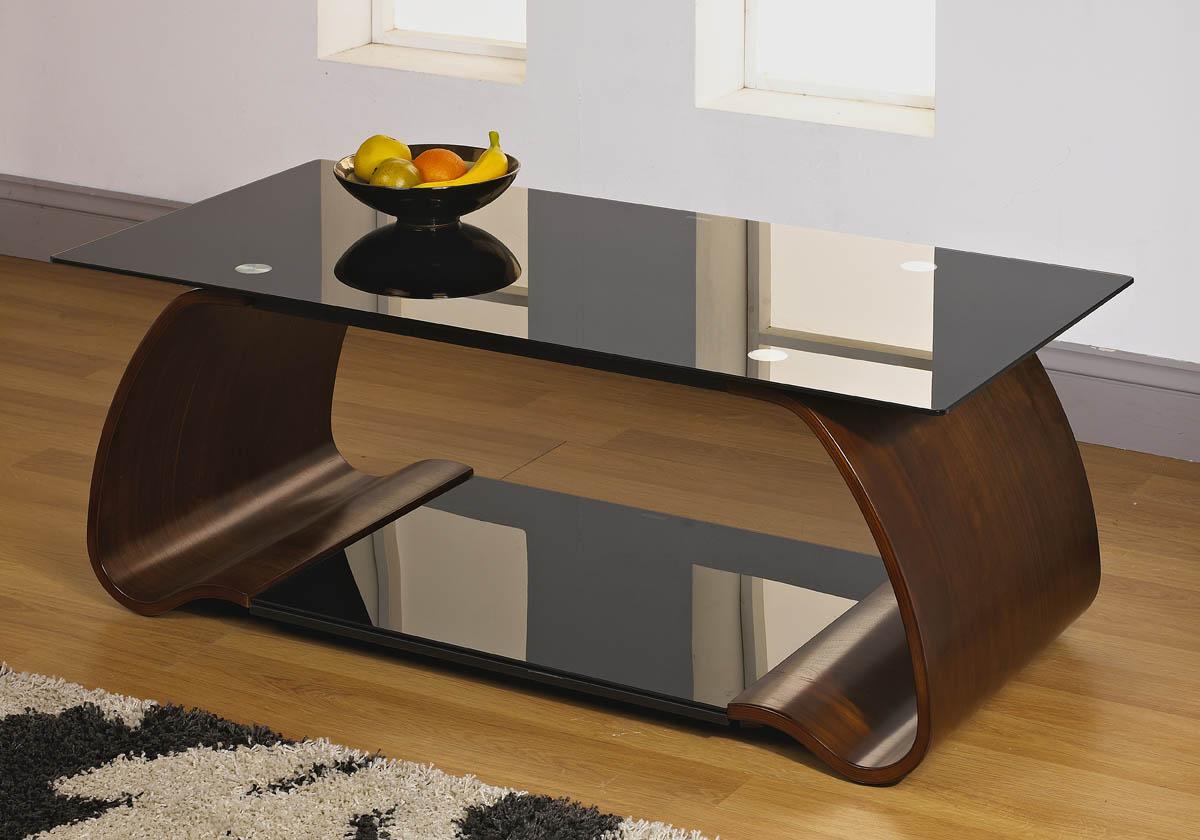 Bold Solid Walnut Veneer Black Tempered Glass Top Shelf Curved Base Coffee Table Ebay