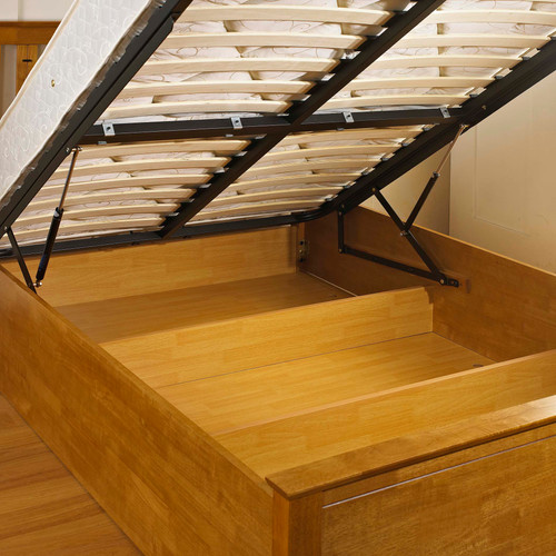 Elegant Oak Wooden Gas Lift Ottoman Storage Bed 4ft6 5ft - FTA Furnishing Nottingham Beds Storage Beds