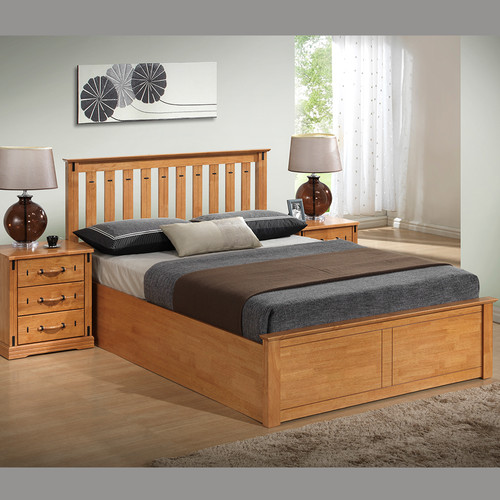 Elegant Oak Wooden Gas Lift Ottoman Storage Bed 4ft6 5ft - FTA Furnishing Nottingham Beds Storage Beds