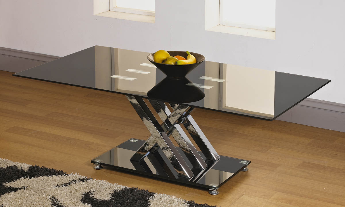 Chic Black 8mm Tempered Glass Top Coffee Table With 5 Piece Cross Chrome Stand Ebay