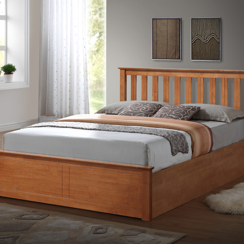 Wooden Ottoman Storage Bed Solid Base - FTA Furnishing Nottingham Beds Storage Beds