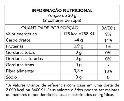 Tabela nutricional - Farinha de Madioca